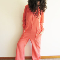 Vintage Polyester Oversize Lounge Wear Dark Peach Coral Zip Up Jumpsuit