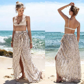 2016 Summer Women Lady Long Skirts Sequined Lace Tassel Skirts Sexy Open Side Split Skirt Long Maxi Skirt Beach Wear Cover Up