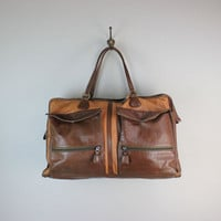 Vintage Two-Tone Leather Travel Bag