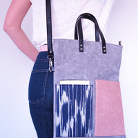 Leather Tote Bag, Gray Leather Ink Fabric Shoulder Bag, Minimal Crossbody, Leather Zipper Tote, Handmade, Valentine Day Gifts, Gifts for her