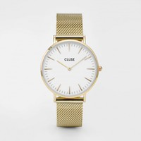 CLUSE Watches | La Bohème Mesh Gold White | Modern Simple Minimalistic