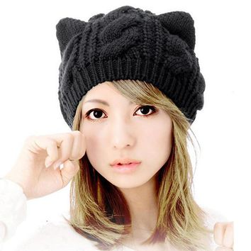 Cat Ears Hemp Flowers Knitted Hat Girls Cute Car Ears Beret Hat Headwear Black Handmade