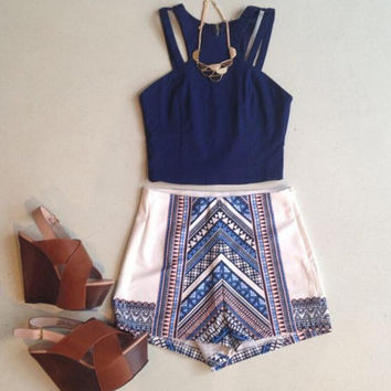 Summer Ethnic Style Top and Elastic Waist Short