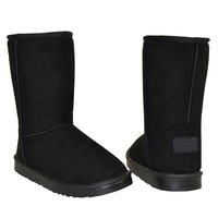 Womens Mid Calf Boots Fur Lined Pull On Winter Comfort Flat Shoes Black SZ 6