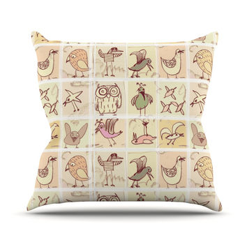 "Marianna Tankelevich ""Birdies"" Yellow Brown Throw Pillow"