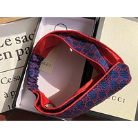 GUCCI Popular Women GG Letter Jacquard Gym Headband Blue I
