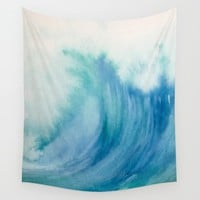 Watercolor Wave Wall Tapestry by buffykaufman