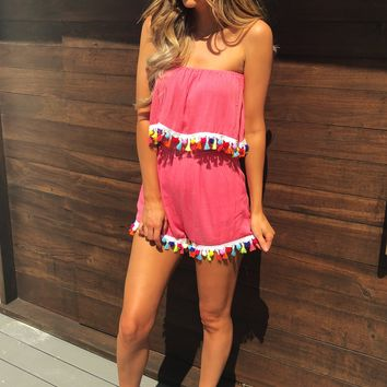 Leads To You Romper: Coral/Multi