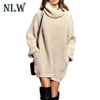 Turtleneck Beige Sexy Mini  Sweater Dress Knitted