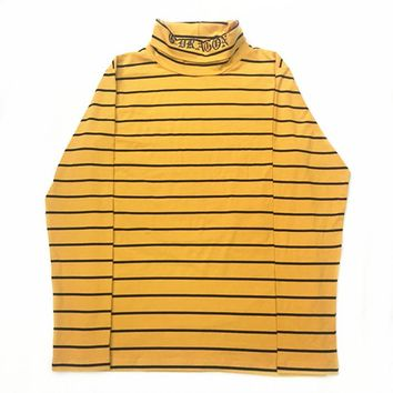 Kpop Bigbang GD Yellow Black Striped Tshirt Women Men Cotton High Collar T Shirt Harajuku Long Sleeve Top