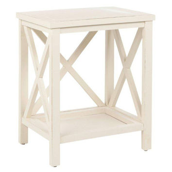 Lucas Cross-Back End Table, Ivory, Standard Side Tables