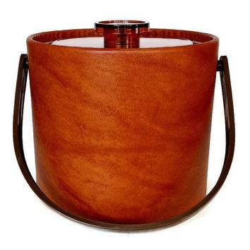 Retro Ice Bucket, Orange Lucite, Faux Leather, Kromex Mid Century Barware