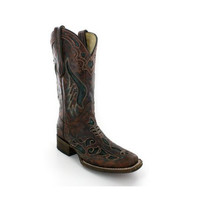 Corral Cognac And Olive Inlay Cowgirl Square Toe Boots A1040