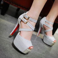 Stylish Design Summer Club Shoes Waterproof High Heel Sandals [4920246148]
