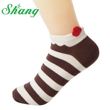 BAMBOO WATER SHANG Women cotton socks Lovely stripe Socks Slippers for women cute boat socks Female socks 10pairs/lot LQ-43