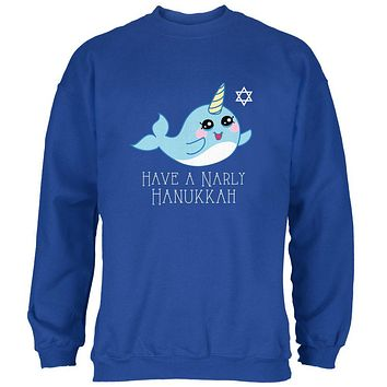 Narwhal Have a Narly Gnarly Hanukkah Mens Sweatshirt
