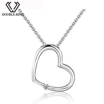 DOUBLE-R Heart Pendants Women Diamond 0.03ct 925 Sterling Silver Necklaces Romantic Christmas Gift Real Jewelry CAP03740SA-1