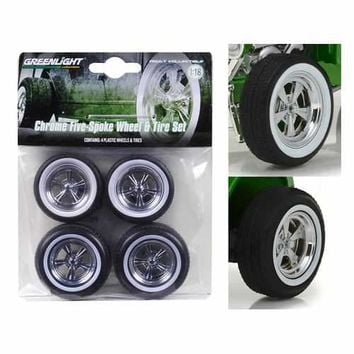 5 Spoke Wheels and Tires Set of 4 from 1932 Ford Custom Hot Rod 1/18 by Greenlight