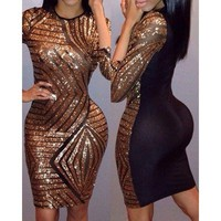 A Sexy Round Neck 3/4 Sleeve Sequined Spliced Women's Dress