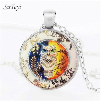 SUTEYI New Fashion Crystal Women Love Necklace Charms Glass Garden Owl Pendant Long Chain Necklaces Handmade Wedding Jewelry
