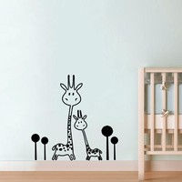 Vinyl Wall Decal Removable Giraffe Wall Sticker Baby Nursery - Animals - Two Cute Giraffes Wall Sticker Art Transfer Murals
