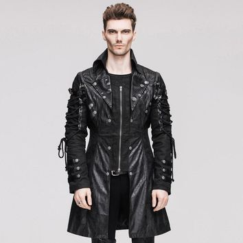 Devil Fashion Punk Faux Leather Men's Military Uniform Long Jackets Steampunk Gothic Black Red Autumn Winter Coats Outerwears
