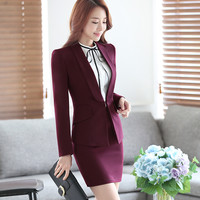 Shawl Collar office formal business red skirt suits for women female Work Wear fashion style career clothes OL two piece set
