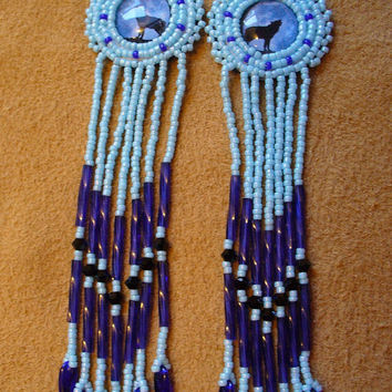 Blue rosette beaded Howling wolf earrings