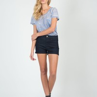 Fitted Foldover High Waisted Shorts