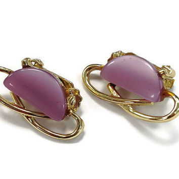 1950s Earrings / 1960s Earrings / Vintage Purple Moonglow Lucite and Gold Tone Clip Earrings, Lavender Thermoset Earrings