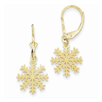 14k Yellow or White Gold Snowflake Leverback Earrings