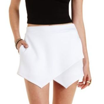 White Envelope Wrap Mini Skort by Charlotte Russe