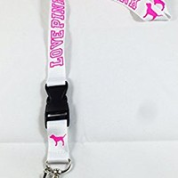 Love Pink Lanyard White Keychain Neck Strap Cell Phone ID