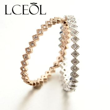 LCEOL Fashion Rose Gold Colour Rings Delicate Joker Style Knuckles beautiful Small Ring AAA Fashion CZ  Circle Ring For Women