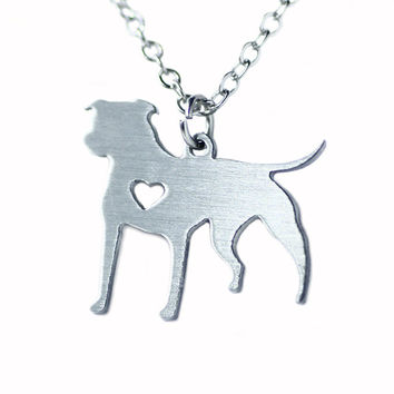 PitBull Necklace Pit Bull Heart Pendant Dog Memorial Pet Necklaces & Pendants Women Animal Charm Christmas Gift Stainless Steel