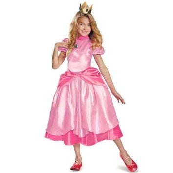 Little Princess Peach Costume Super Mario Brothers Princess Cosplay Classic Game Costume Kids Girl Halloween Fancy Dress