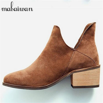 Brown Black Genuine Leather Women Ankle Boots Low Square Heel Booties V Design Motorcycle Martin Boot Botas Militares