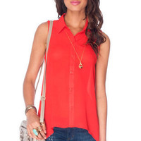No Arm Done Button Down Shirt in Red Orange :: tobi