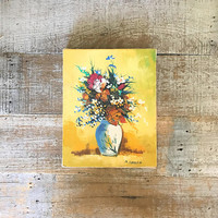 Painting Floral Wall Art Vase of Flowers Painting Unframed Signed Still Life Floral Painting Oil on Canvas Painting Cottage Chic Art