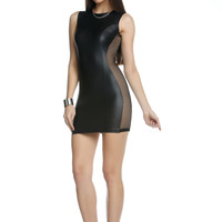 High Collar Bodycon Dress With Fishnet Side Panels