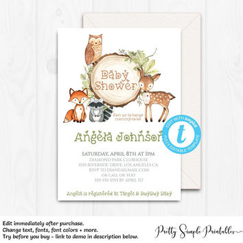 Woodland Baby Shower Invitation, Boy, Woodland Theme Invites, Editable, Digital Instant Download, Fox, Deer Templett, Woodland Template WD02