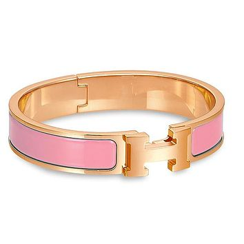 Hermes Bracelet Women's Men Enamelled Palladium H Wide Bracelet Pink gold