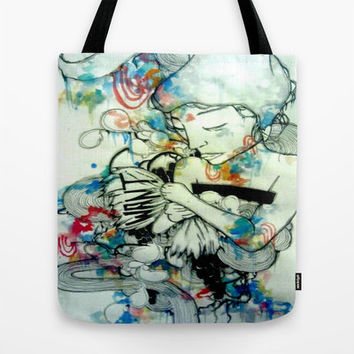 canvas tote bag - watercolor art -shopping bag - tote bag - market bag - art tote bag - watercolor and ink