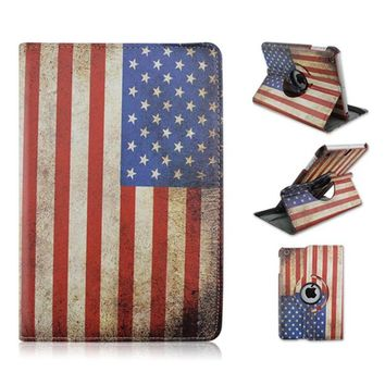 Flag of American Pattern 360 Rotating PU Leather Full Body Case with Stand for iPad Air 1 2 iPad 2 3 4 iPad Mini 1 2 3