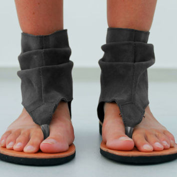 Grey Leather Sandals - Women's Shoes - Any Colors - All Sizes