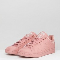 adidas Originals Pink Stan Smith Satin Quilted Trainers at asos.com