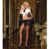 5pc Sexy Techie Shirt, Mini Skirt, Necktie, Glasses & G-String Black/White O/S