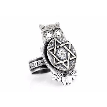 Coin ring with the Star of David coin medallion on owl ahuva coin jewelry owl jewelry