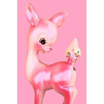 deer print pink fawn ice cream 8 x 12 OH DEER