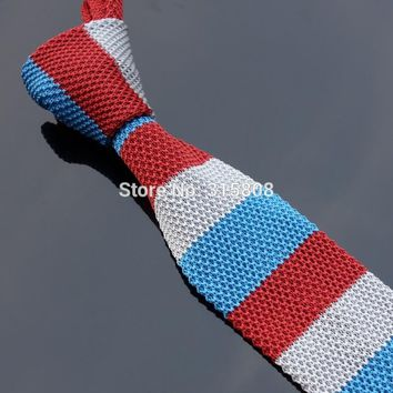 Ikepeibao Unique Skinny Blue White Red Knitted Polyester Narrow Ties Slim Neck Tie Men's Striped Necktie width:5cm